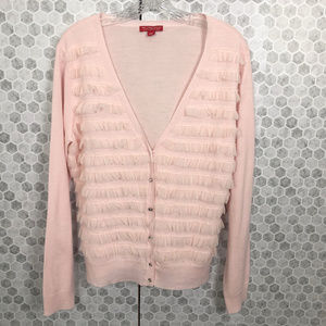 NY&Co. Collection Pink Cardigan Netting Ruffles